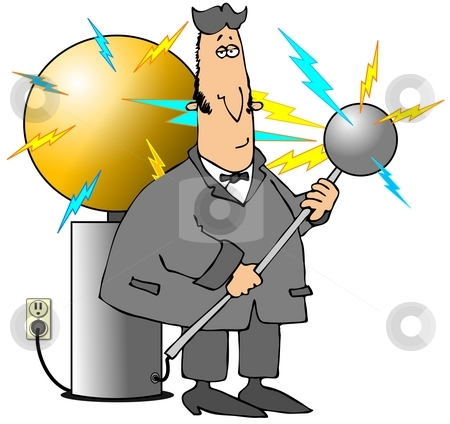 Tesla Coil stock photo, This illustration depicts a caricature of Nikola Tesla with his electricity coil. by Dennis Cox