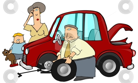 Change A Flat stock photo, This illustration depicts a man changing a flat tire on a car as a woman and child watch. by Dennis Cox