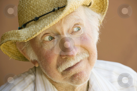Senior Man in a Cowboy Hat stock photo, Happy Senior Man in a Straw Cowboy Hat by Scott Griessel