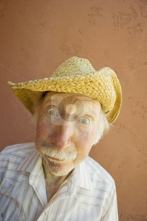 Senior Citizen Man in a Cowboy Hat stock photo, Senior Citizen Man with a Funny Expression Wearing a Straw Cowboy Hat by Scott Griessel