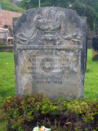 Anne Brontes Gravestone stock photo, Anne Brontes Gravestone, Saint Marys Church cemetery, Scarborough, England. by Martin Crowdy