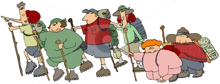 Group Of Hikers stock photo, This illustration depicts a group of hikers with backpacks and walking sticks. by Dennis Cox