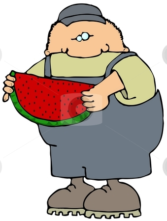 Watermelon Boy stock photo, This illustration depicts a boy in coveralls eating a large slice of watermelon. by Dennis Cox