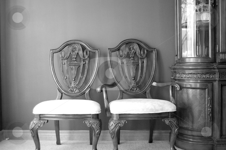 Dining room chairs stock photo,  by John Adair
