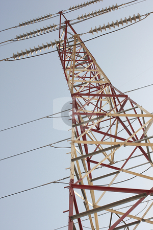 Electrical powerlines stock photo, Electric transmission power lines tower perspective structure by ImageZebra .