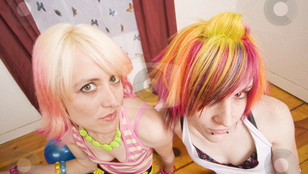 Hipster Girls stock photo, Two colorful hipster girls with brightly dyed hair by Scott Griessel