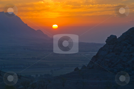 Travel. The mountain country. stock photo, Evening in mountains of Kyrgyzstan. September. by Yury Ponomarev