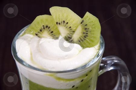 Dessert. stock photo, Whipped cream with fruit. by Yury Ponomarev