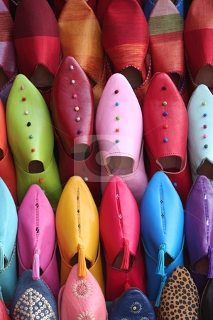 Colorful Moroccan Shoes stock photo, Colorful moroccan shoes alignment in a street shop by Gautier Willaume