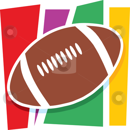 Football Graphic stock photo, A single football on a stylized striped background by Maria Bell