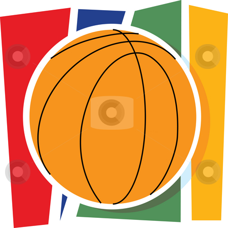 Basketball Graphic stock photo, A single basketball on a stylized striped background by Maria Bell