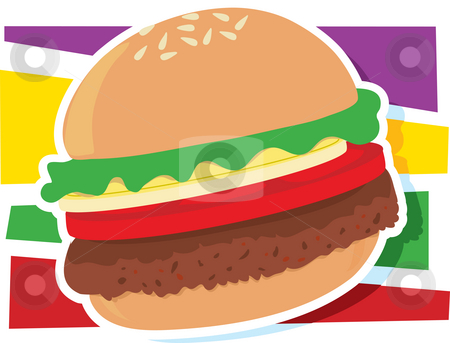 Hamburger Graphic stock photo, A single hamburger on a stylized striped background by Maria Bell