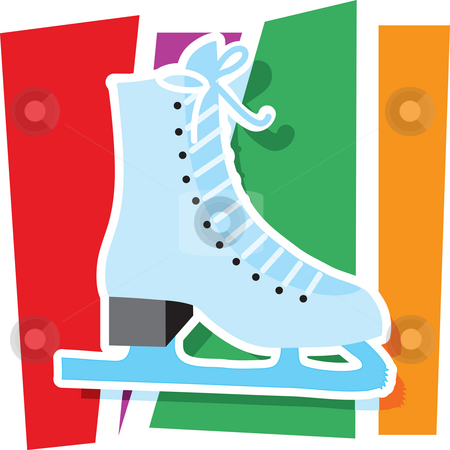 Ice Skate Graphic stock photo, An ice skate on a stylized striped background by Maria Bell