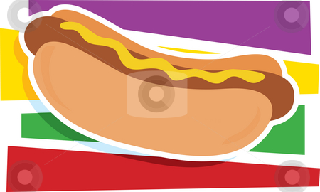 Hot Dog Graphic stock photo, A single hot dog on a stylized striped background by Maria Bell