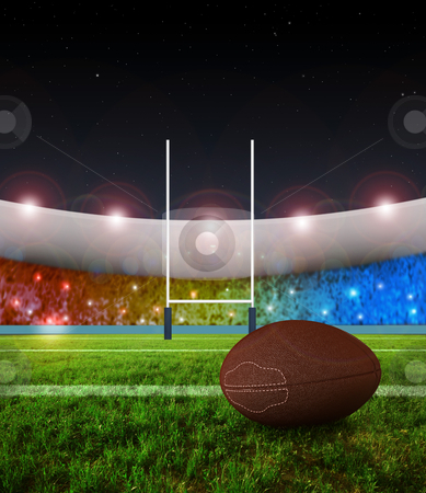 Rugby penalty kick - Night stock photo, Rugby stadium in night time and ball ready for penalty kick by Giordano Aita