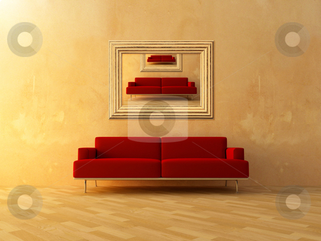 Repeat in frame stock photo, Image of interior house repeat in frame on wall room by Giordano Aita