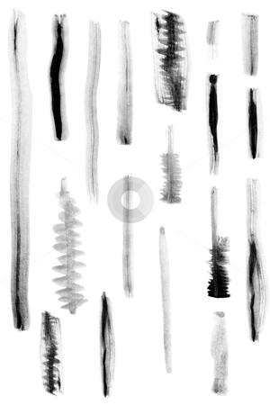Black paint brush marks stock photo, black paint brush marks on white background by caimacanul