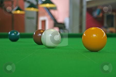 Snooker Balls stock photo, Snooker Balls set up for a game of snooker by Lucy Clark