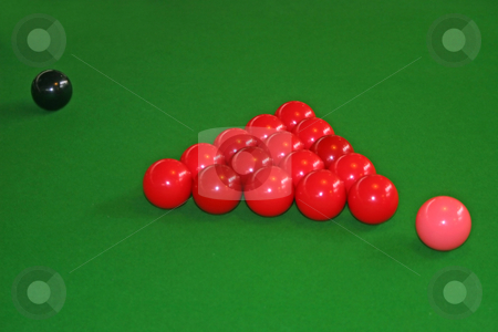 Snooker Balls stock photo, Snookers Balls set up on a snooker by Lucy Clark