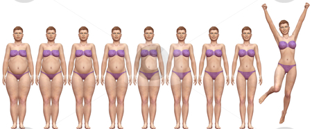 Fat Fit Before After Diet Weight Success Woman stock photo, Woman diets from fat to fitness in before after frontal 3D render series by Michael Brown