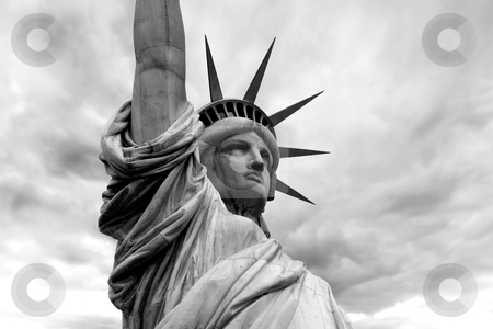 Statue of Liberty stock photo, Photo of the Statue of Liberty in New York City.  Black and white version.  by © Ron Sumners