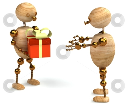Wood man with gift box stock photo, Wood man with gift box 3d rendered by vetdoctor