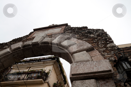 Greek Arch stock photo, A old Greek arch that is the entrance to a theater in Messina, Italy by Kevin Tietz