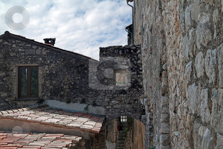 Eze France Building stock photo, Old house and walls in the village of Eze, France by Kevin Tietz