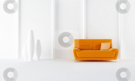 Orange moder style sofa stock photo, Orange modern sofa in white luminous room by Giordano Aita