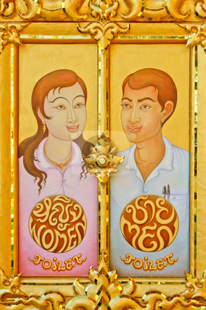 Window man & woman stock photo, Window man & woman in thai temple. by smileidea
