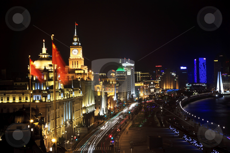 Shanghai Bund at Night With Cars stock photo, The Bund, Old Part of Shanghai, At Night with Cars  by William Perry
