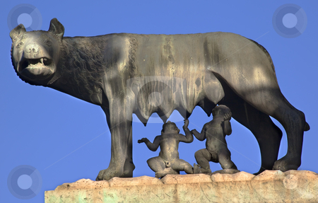 Capitoline Wolf Romulus Remus Statue Forum Rome Italy stock photo, Capitoline Wolf Romulus Remus Statue Forum Rome Italy   by William Perry