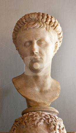 Statue Emperor Augustus Caesar Capitoline Museum Rome Italy stock photo, Statue Sculpture Bust of Roman Emperor Caesar Augustus Roman Capitoline Museum Rome Italy   by William Perry
