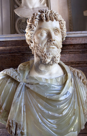 Statue Emperor Marcus Aurelius Capitoline Museum Rome Italy stock photo, Statue Sculpture Bust of Roman Emperor Marcus Aurelius Capitoline Museum Rome Italy   by William Perry