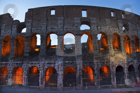 Colosseum Evening Details Rome Italy stock photo, Colosseum Colosseum Evening Details Rome Italy Built by Vespacian   by William Perry