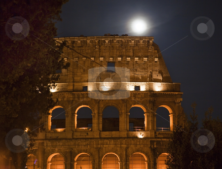Colosseum Night Moon Details Rome Italy stock photo, Colosseum Night Moon Details Rome Italy Built by Vespacian   by William Perry