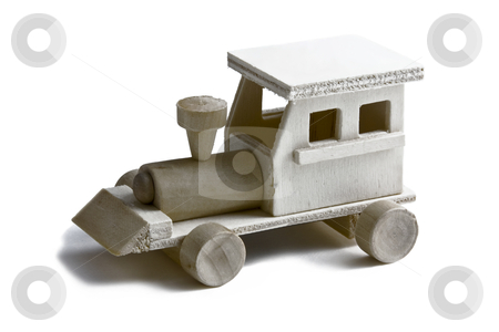 Toy Train on White stock photo, Wooden toy train with wheels on white background by Walter Ulloa
