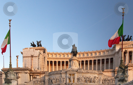 Vittorio Emanuele II Monument Tomb of Unknown Soldier End of Day stock photo, Vittorio Emanuele II Monument Tomb of Unknown Soldier Central Rome Italy Builit in 1921   by William Perry