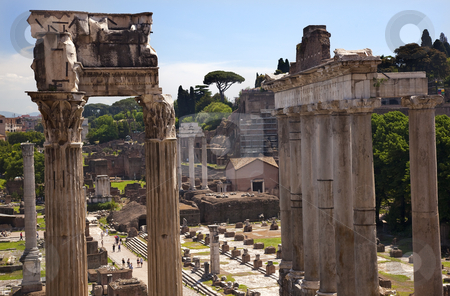 Temples of Saturn Forum Rome Italy stock photo, Temple of Saturn Forum Temple of Castor and Pollux Rome Italy   by William Perry