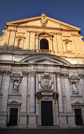 Gesu Jesuit Church Facade Rome Italy stock photo, Chiesa del Gesu Church Facade Built in Late 16th Century by the Jesuits Rome Italy A prototype of a counterreformation church.  Built in 1568-1584   by William Perry