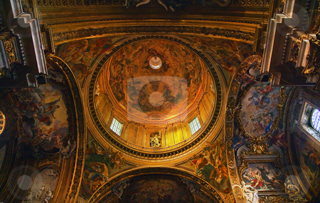Goldon Baroque Dome and Paintings Gesu Jesuit Church Rome Italy stock photo, Chiesa del Gesu Church, Golden Baroque Dome and Paintings and Ceiling, Built in Late 16th Century by the Jesuits Rome Italy A prototype of a counterreformation church.  Built in 1568-1584 Saint Ignatius Loyola   by William Perry