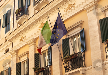 EC Italy Flags Building Windows Close Up Via Del Balbuno Roman S stock photo, EC Italy Flags Building Windows Close Up Via Del Balbuno Roman Street Rome Italy   by William Perry