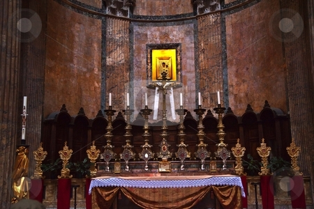 Altar Gold Icon Pantheon Rome Italy stock photo, Altar Candles Gold Icon Pantheon Rome Italy Basilica Palatina First built in 27BC by Agrippa and rebuilt by Hadrian in the Second Century Became oldest church in 609 AD   by William Perry