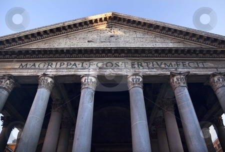 Pantheon Front Columns Agrippa Rome Italy stock photo, Pantheon Front Columns Rome Italy Basilica Palatina First built in 27BC by Agrippa and rebuilt by Hadrian in the Second Century Became oldest church in 609 Oculus is open to the air   by William Perry