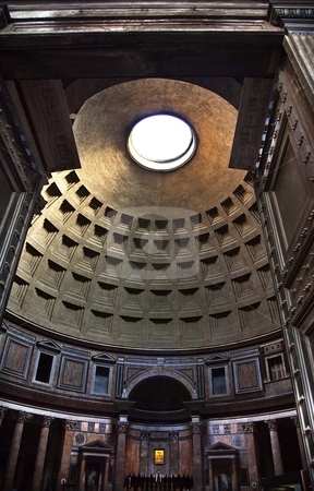 Pantheon Through Doors Altar Cupola Ceiling Oculus Rome Italy stock photo, Pantheon Through Doors Cupola Oculus Ceiling Rome Italy Basilica Palatina First built in 27BC by Agrippa and rebuilt by Hadrian in the Second Century Became oldest church in 609 Oculus is open to the air   by William Perry