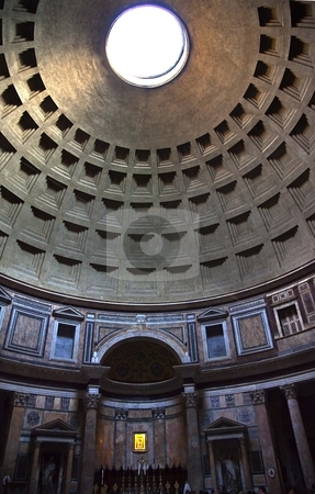 Pantheon Cupola Ceiling Hole  Rome Italy stock photo, Pantheon Cupola Oculus Hole Ceiling Rome Italy Basilica Palatina First built in 27BC by Agrippa and rebuilt by Hadrian in the Second Century Became oldest church in 609 Oculus is open to the air   by William Perry