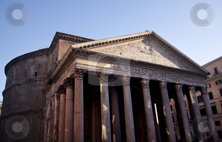 Ancient Pantheon Outside Basilica Palatina Rome Italy stock photo, Ancient Pantheon Outside, Rome Italy Oldest Church in the World Built in 27BC by Agrippa and rebuilt in the Second Centuray AD by Hadrian.  Oldest dome building in the world   by William Perry