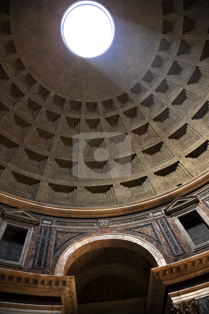 Sunbeam Through Oculus Ceiling Hole Pantheon Rome Italy stock photo, Sunbeam Through Oculus Ceiling Hole Pantheon Cupola Rome Italy Basilica Palatina First built in 27BC by Agrippa and rebuilt by Hadrian in the Second Century Became oldest church in 609 Oculus is open to the air   by William Perry