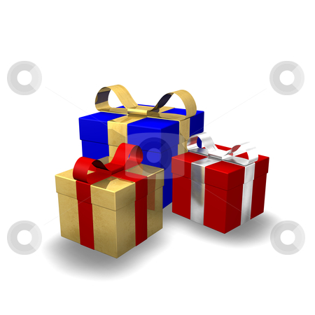Gifts 3D stock photo, 3d illustration looks gift in red and golden colors. by Alexander Limbach