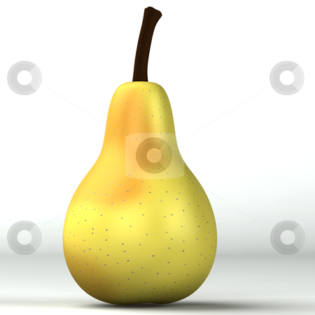 3d light yellow pear isolated stock photo, 3d light yellow pear isolated on white by vetdoctor